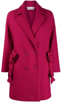 RED Valentino Bow-Detail Double-Breasted Coat