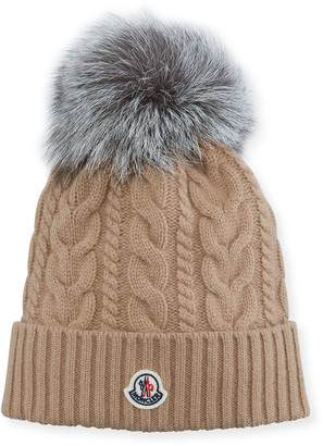 Moncler Cable-Knit Fox Pompom Beanie