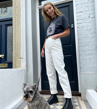 Asos Tall ASOS DESIGN Tall High rise 'slouchy' mom jeans in off white