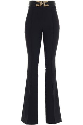 Elisabetta Franchi Logo Belt Flared Trousers
