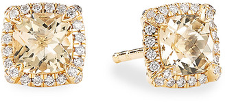 David Yurman Petite Chatelaine Pave Bezel Stud Earrings in 18K Yellow Gold with Champagne Citrine