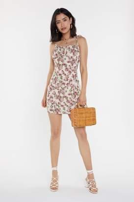 Nasty Gal Womens Ruched Bust Vintage Rose Print Mini Dress - Cream - 10, Cream