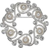 Napier Simulated Pearl Scroll Wreath Pin