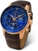 Vostok Europe Gaz Limo All-Timer Perpetual Calendar Chrono Men's Alarm Watch Rose Gold and Blue YM86/565B289