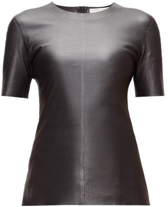 Bottega Veneta Round-neck Leather T-shirt - Womens - Black