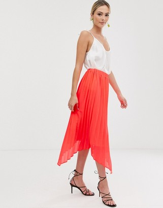 Liquorish midi skirt with pleated overlay in bright coral-Pink