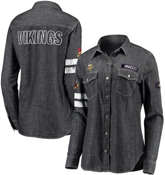 Unbranded Women's WEAR By Erin Andrews Heather Black Minnesota Vikings Long Sleeve Button-Up Denim Shirt
