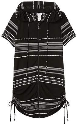 Dotti Dahlia Stripe Zip Front Hoodie Dress Cover-Up (Black/White) Women's Swimwear