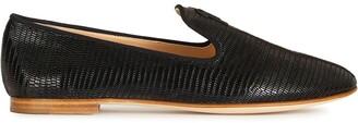 Giuseppe Zanotti Snakeskin-Effect Logo Loafers