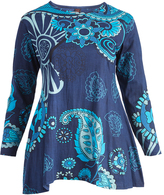 Aller Simplement Blue & Gray Floral Tunic - Plus Too