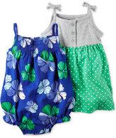 Carter's 2-Pc. Cotton Floral-Print Romper & Dot-Print Dress Set, Baby Girls (0-24 months)
