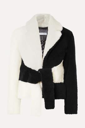 Saks Potts Tie-front Two-tone Shearling Jacket - White