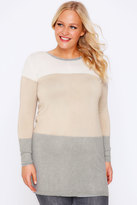 Yours Clothing Grey & Taupe Colour Block Stripe Jumper With Silver Shoulder Zips