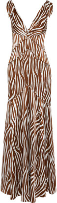 Diane von Furstenberg Scarlette Knotted Printed Silk-satin Maxi Dress