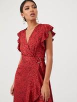 AX Paris Spotty Frill Wrap Dress - Red