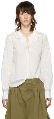 See by Chloe White Ruffle Neck Blouse