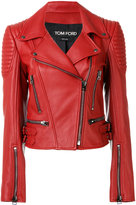 Tom Ford ribbed detail biker jacket - women - Silk/Lamb Skin - 40