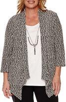 Alfred Dunner Port Antonio 3/4-Sleeve Popcorn Necklace Sweater - Plus