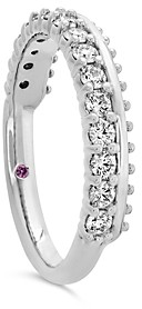 Hayley Paige for Hearts on Fire 18K White Gold Sloane Picot All In A Row Band with Diamonds & Pink Sapphire
