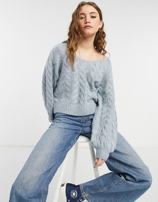 Abercrombie & Fitch cable knit boat neck sweater in light blue