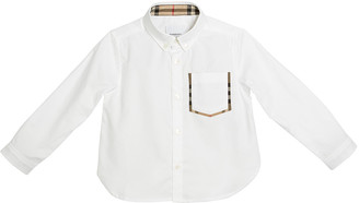 Burberry Harry Check-Pocket Sport Shirt, Size 3-14