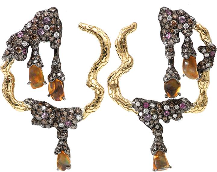 Arunashi Fire Opal And Pink Sapphires Earrings