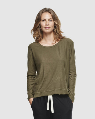 Cloth & Co. - Women's Green Basic T-Shirts - Organic Cotton Slub Long Sleeve T-Shirt - Size One Size, XS at The Iconic