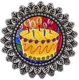 GiftJewelryShop Ancient Style Silver Plate Birthday Cake With Candles Leaves Cameo Pins Brooch