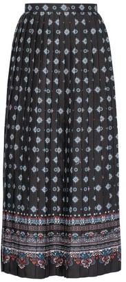 Erdem Nolana Pleated Hamilton-print Twill Midi Skirt - Black Print