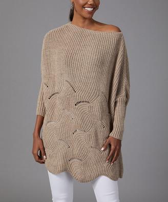 Milan Kiss Women's Pullover Sweaters MINK - Dark Tan Curve-Knit Wool-Blend Dolman Sweater - Women