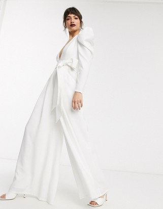 Asos EDITION plunge wide leg jumpsuit with open back