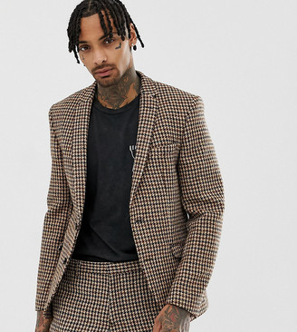 Heart N Dagger slim suit jacket in charcoal harris tweed-Grey
