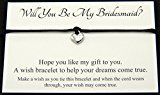 Will You Be My Bridesmaid? Wedding Heart Charm Wish Bracelet Card Gift Bag Friendship charmed Bracelet Party Favour(Hand made in UK) (Lilac) by Lucor