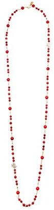 Lauren Ralph Lauren 42 Beaded Logo Strand Necklace (Coral) Necklace