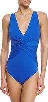 MICHAEL Michael Kors Solid Deep-V One-Piece Swimsuit