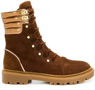 Casadei metallic detail colour block boots
