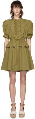 See by Chloe Khaki Poplin Ruffle Dress