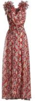 Marc Jacobs Wrap-Effect Ruffled Printed Silk-Organza Halterneck Gown