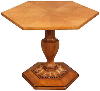 One Kings Lane Vintage Hexagonal Center Table with Palm - Something Vintage