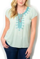 DHStyles Women's Plus Size Sheer Embroidered Neckline Top