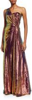 Theia Iridescent Micro Sequin Asymmetrical Gown
