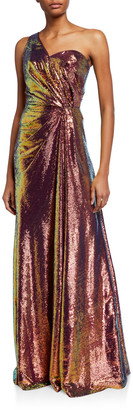 Theia Iridescent Micro Sequin Asymmetrical Gown