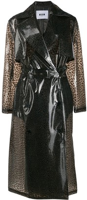 MSGM Leopard Print Trench Coat