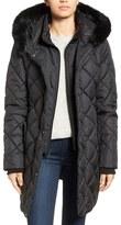 Larry Levine Faux Fur Trim Long Quilted Coat with Inset Bib