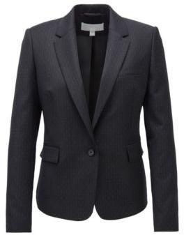 HUGO BOSS Regular Fit Jacket In Patterned Stretch Fabric - Patterned
