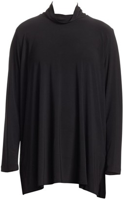 Caroline Rose, Plus Size Stretch Knit Mockneck Tunic Top