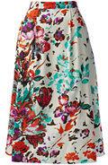 Lands' End Women's Petite Stretch Poplin Midi Skirt-Ivory Floral