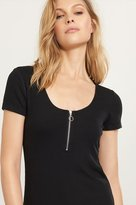 Dynamite Ribbed Front Zip Tee