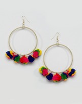 Glamorous Hoop Pom Earrings