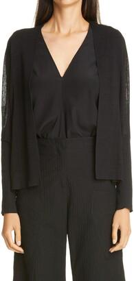 Zero Maria Cornejo Stella Mesh Panel Linen & Cotton Cardigan